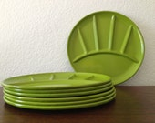 Retro Metal Green Fondue Plates, Set of 7
