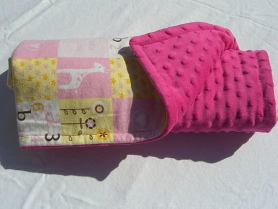 SALE Minky blanket/ baby blanket/ stroller blanket/ Giraffes baby blanket