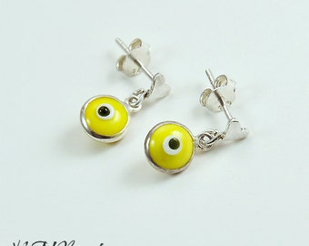 Children Neon Yellow Evil Eye Earrings With Tiny Heart Ear Post Sterling Silver Little Girls Child Teenage Jewelry Gift for Kids