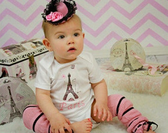 SALE Baby girl first birthday outfit, Paris theme onepiece bodysuit and leg warmers set, number 1, pink and black, photo prop, Eiffel Tower