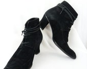 late 80s vintage MAX MARA black suede leather court heeled pointy toe ankle booties Victorian steampunk: size 38/ us 7.5