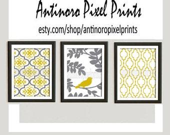 Damask Bird Wall Art Prints Yellow Mustard Greys Wall Art Set of 3 - 8x10 Prints - (UNFRAMED) Custom Colors Sizes Available