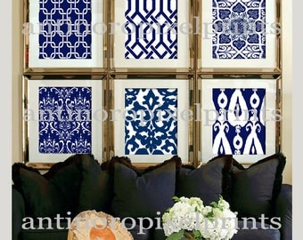Digital Print Wall Art Navy White Vintage / Modern inspired Wall Art -Set of (6) - Wall Art Picture Prints -   (UNFRAMED)