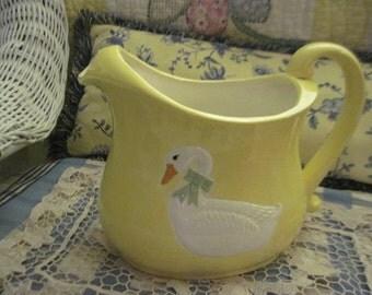 Pitcher, Duck/Geese Pitcher, Yellow Sittre Ceramic Product 85, Vintage Kitchen, Vintage Dishes, Country Kitchen Decor, Kitchen Decor,  :)S/