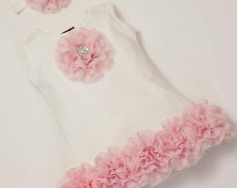 Baby Girl Cotton  White Dress with Chiffon Flowers and Rhinestones
