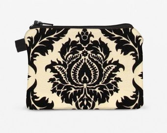 Change purse, zip coin pouch, padded zippered pouch for women - black and cream white damask