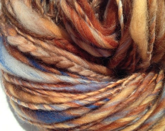 Handspun Thick & Thin single, 132 yards, in-line crochet, texture 'Sunset on the River