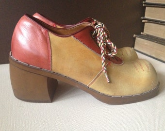 70s Oxford Saddle Shoes Two Tone Leather Size 4.5  5 US