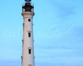 Lighthouse Photography, CALIFORNIA LIGHTHOUSE in Aruba,  Blue Sky  Seascape Photograph