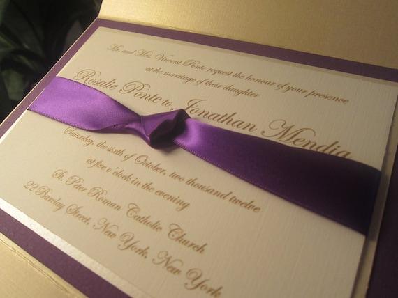 Purple and Champagne Pocketfold Wedding Invitation