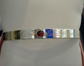 Sterling Silver Cuff bracelet with Garnet gemstone