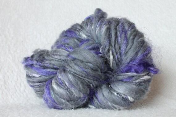 Graphite -- Handspun Thick and Thin Merino Wool, Bamboo and Mohair Yarn -- 60 Yards