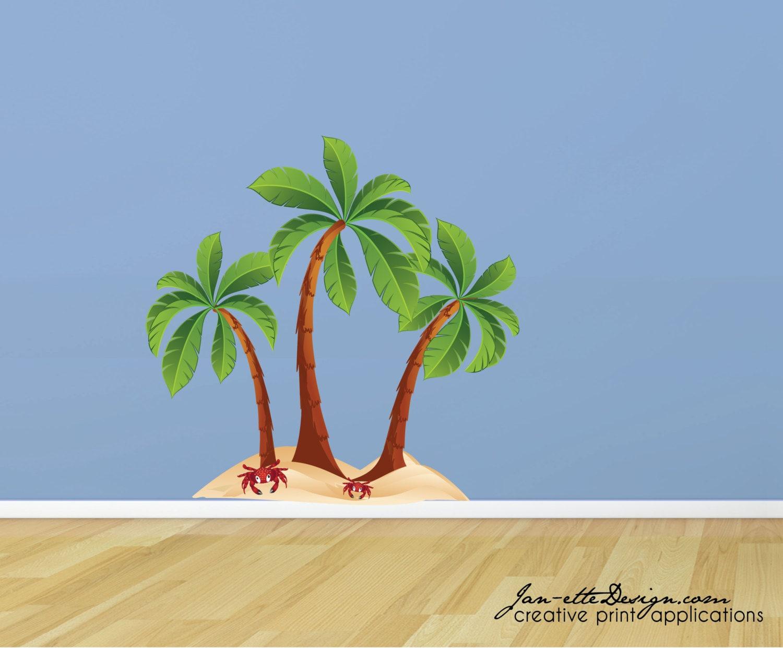 Beach palm trees fabric wall decal beach wall art palm tree for Beautiful palm tree decal for wall