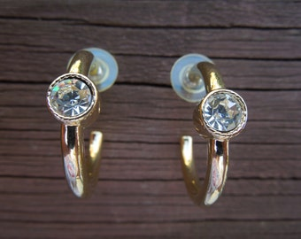 Vintage Hoop Earrings with Rhinestone.  Gold Tone, Post Style. Excellent Condition