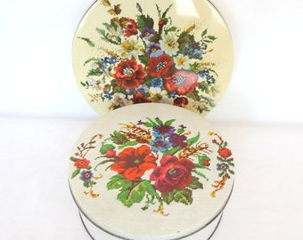 Vintage Floral Needle Point Pattern Tins-Pair