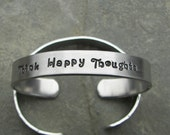 Hand Stamped Bracelet Think Happy Thoughts From Petter Pan