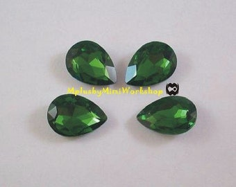 Water Droplets Green Rhinestone 1pc - High quality 18mmx13mm