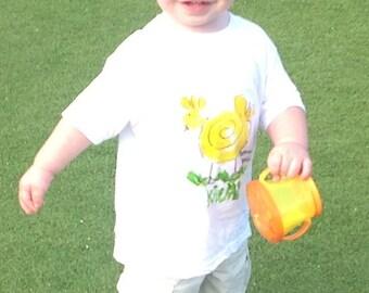Chicken T-shirt -  back to school  - Baby Gift Hawaii  - Unisex Kids Shirt - Hand Painted T-shirt - Kauai Chicken Shirt - yellow green shirt
