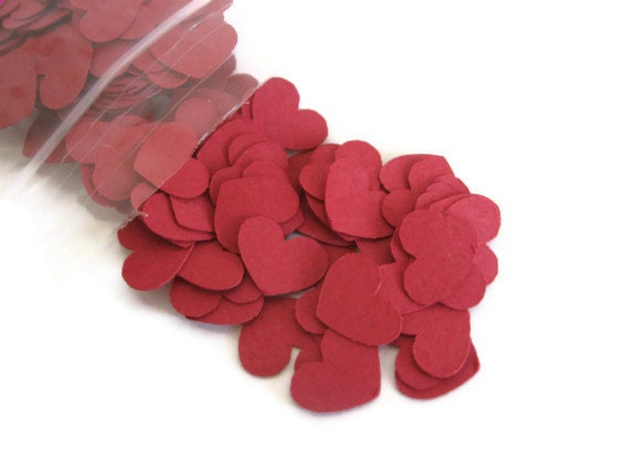 Dark Red / Burgundy Heart Confetti: about 200 Mini Hearts