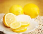 Lemon Photo, Food Photograph, Kitchen Decor, Fruit Image, Yellow, Citrus, White,Lemon Slices, Large Print, Still Life Photo