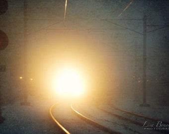 Railroad Photograph, Train Light in Fog - Surreal Dreamy Railroad Railway Transportation Wanderlust Train Tracks Travel