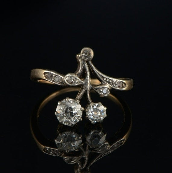 Art Nouveau 1.05Ct Diamond flower rare antique ring