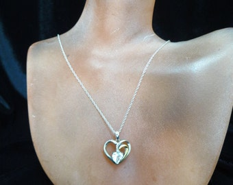 Sterling Silver Heart With Imitation Aquamarine Stone Necklace