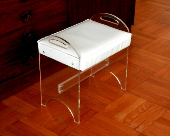 acrylic vanity bench | Hollywood Regency Lucite Vanity Bench or Stool with Original