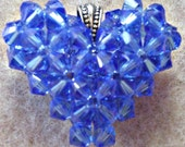 Blue Sapphire Swarovski Crystal Puffy Heart Charm Pendant Necklace Birthstone Jewelry