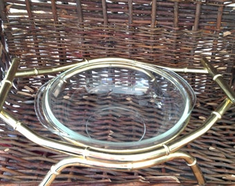Mid Century Casserole Brass Bamboo Carrier with Pyrex Dish SALE WAS 26.00 now 20.00