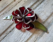 stained glass red rose