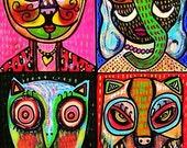 Lipstick Animal Goddess ) 11x14 in.- SILBERZWEIG ORIGINAL PAINTING -Vintage Circus Pop - Mexican, Folk, Cat, Elephant, Bird, Owl, Wolf, Dog