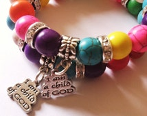 Children's Bracelet , Christian jewelry, Rainbow bracelet