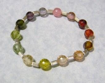 Rainbow Faceted CZ (Cubic Zirconia) Stretch Bracelet