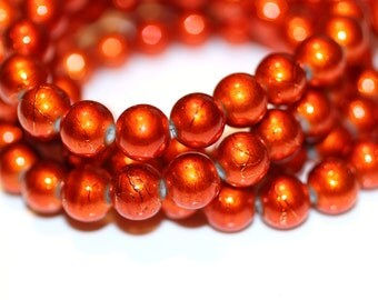 80pc Burnt Orange Loose Beads- 10mm Basketball wives inspired Bracelet beads-Glass Beads-Necklace Beads-10mm