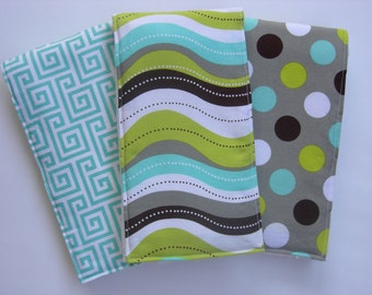 Geometric Gender Neutral Burp Cloths (Set of 3)
