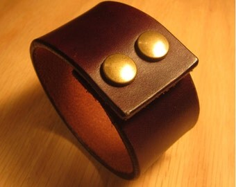 Dark Brown Leather Cuff with Two Brass Snaps