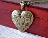 All Heart Locket Necklace, Heart Locket in Antiqued Brass
