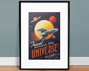 Across The Universe - Vintage Poster - Retro Art Print - Kids Room Decor