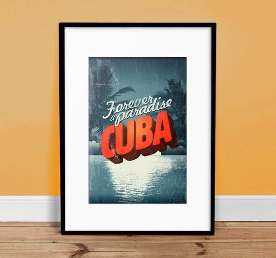 "Cuba - Forever A Paradise - 13"" x 19"" Vintage Poster - Retro Art Print - Nostalgia"