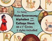 Kate Greenaway Alphabet Digital Collage Sheet  - 1 Inch Circles x 48  - Perfect for Jewelry, Bottle Caps etc Instant Download