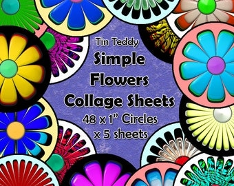 Simple Flowers Digital Collage Sheet  - 1 Inch Circles x 48  - Perfect for Jewelry, Bottle Caps etc Five Versions Included
