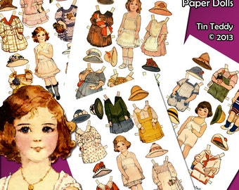 Edwardian Paper Dolls Digital Collage Sheets - 4 Printable Vintage Dress Up Dollies and Lots of Clothes