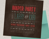 5x5 Rustic Arrows Couples Diaper Party Invitation // Turquoise, Red, Orange