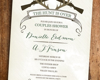 The Hunt Is Over - Hunting Couples Shower Invitation