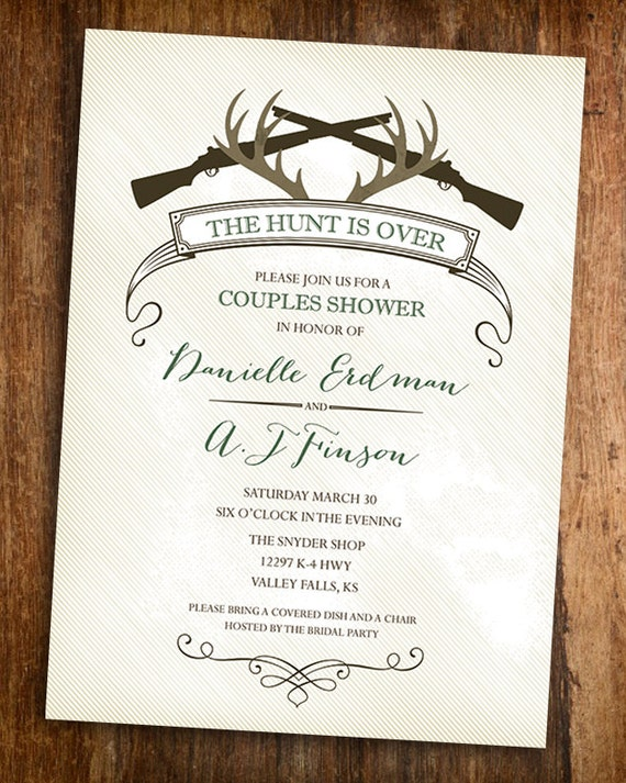 The Hunt Is Over Hunting Couples Shower Invitation
