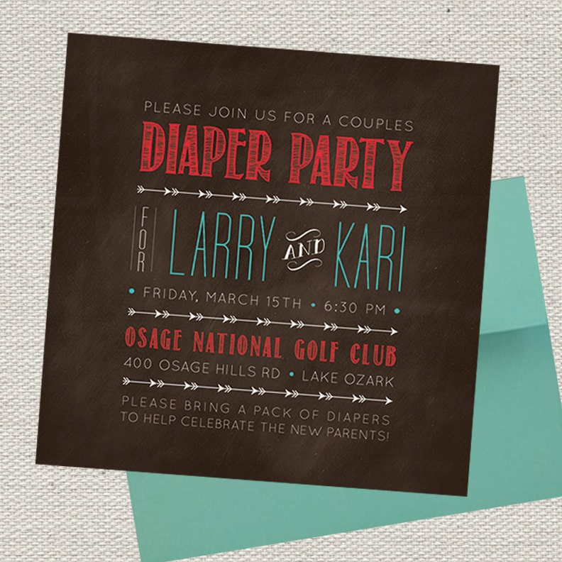 5x5 Rustic Arrows Couples Diaper Party Invitation