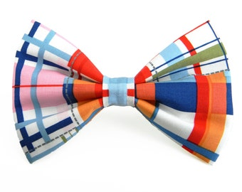 Plaid Dog Bow Tie, Collar Bow Tie, Pet Bow Tie, Red and Navy Dog Bow: Patchwork Plaid