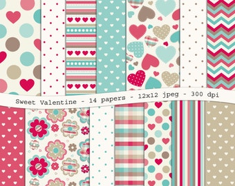 Sweet Valentine digital scrapbooking paper pack - 14 printable jpeg papers, 12x12, 300 dpi - instant download