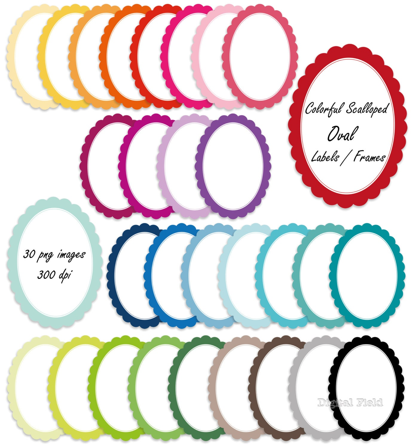 Colorful scalloped oval labels / frames clip art set